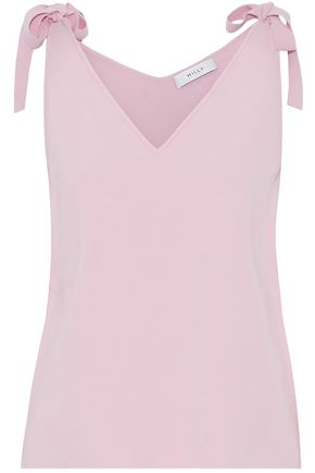 MILLY Bow-detailed ribbed-knit top