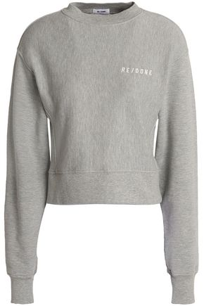 RE/DONE by LEVI'S Embroidered French cotton-blend terry sweatshirt