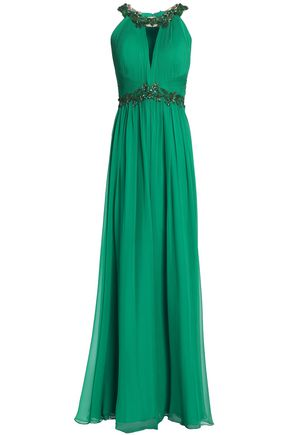 MARCHESA NOTTE Embellished pleated silk-chiffon gown