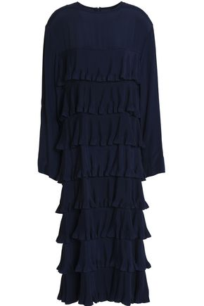 MARNI Tiered plissé crepe de chine midi dress
