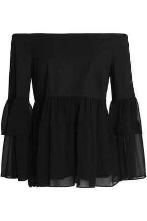 RACHEL ZOE Off-the-shoulder stretch-cotton and gathered chiffon top