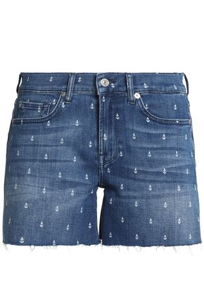 7 FOR ALL MANKIND Printed denim shorts