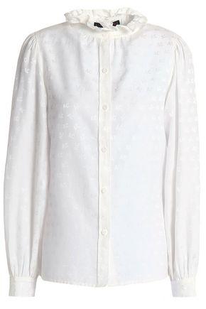 ALEXA CHUNG Cotton and silk-blend jacquard blouse