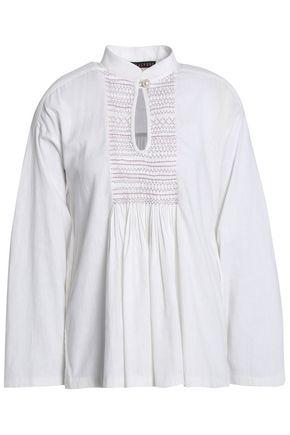 ALEXACHUNG Smocked linen blouse