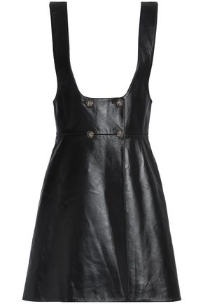 ALEXACHUNG Double-breasted leather mini dress