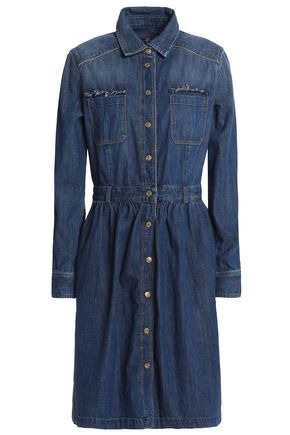 7 FOR ALL MANKIND Gathered denim shirt dress