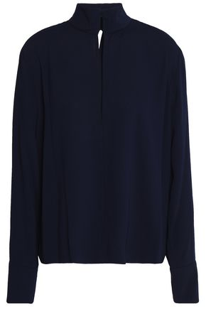 BY MALENE BIRGER Wrap-effect cutout crepe blouse