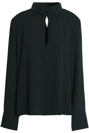 BY MALENE BIRGER Wrap-effect cutout crepe blouse