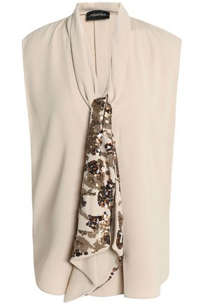 BY MALENE BIRGER Embellished draped crepe blouse