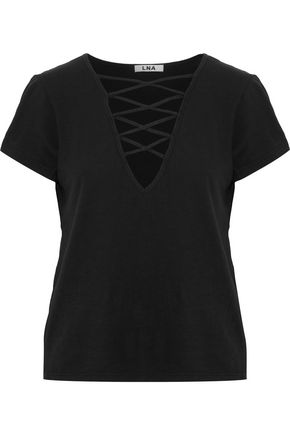 LNA Lace-up slub cotton-jersey top