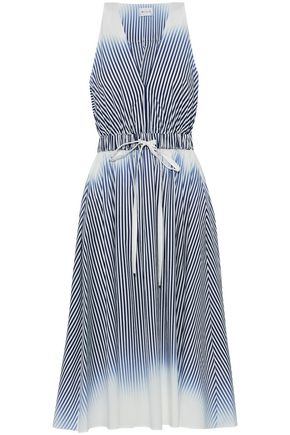 MILLY Striped dégradé cotton-blend poplin dress