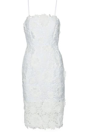 MILLY Floral-appliquéd guipure lace dress