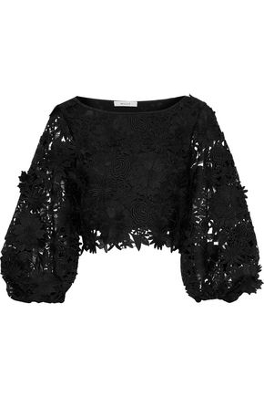 MILLY Camilla cropped floral-appliquéd guipure lace top