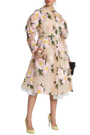 SIMONE ROCHA Belted embroidered cotton-blend tulle trench coat
