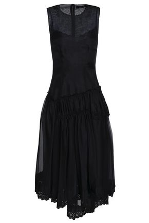 SIMONE ROCHA Broderie anglaise-trimmed flared organza midi dress
