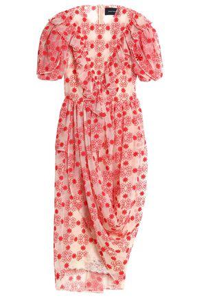 SIMONE ROCHA Wrap-effect embroidered cotton-blend tulle midi dress