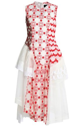 SIMONE ROCHA Paneled lace, embroidered tulle and printed chiffon midi dress