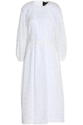 SIMONE ROCHA Pleated broderie anglaise cotton-blend shell midi dress