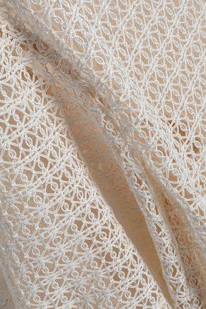 ALEXANDER WANG Frayed macramé lace top