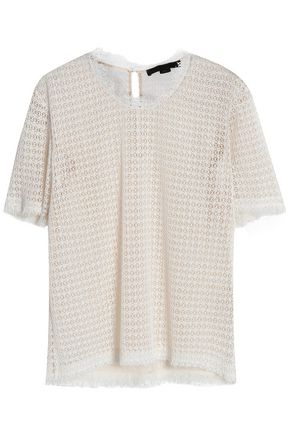 ALEXANDER WANG Frayed macramé lace top