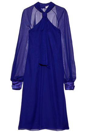 LANVIN Satin-trimmed knotted chiffon dress