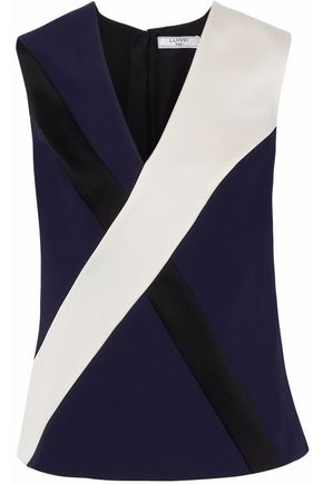 LANVIN Color-block satin-crepe top