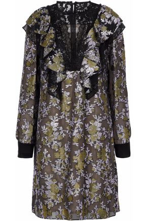 LANVIN Lace-paneled ruffled brocade dress
