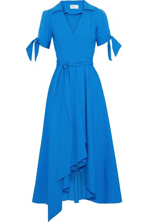 MILLY Valerie asymmetric cotton-blend wrap midi dress