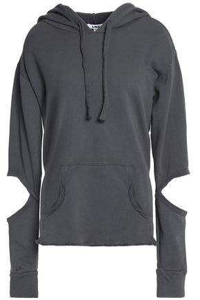 LNA Cutout cotton-terry hooded sweatshirt