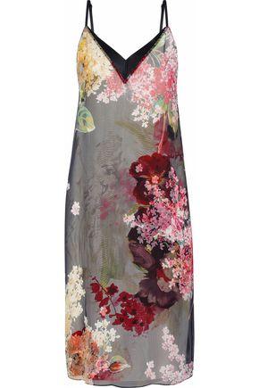 LANVIN Satin-trimmed floral-print silk-chiffon slip dress