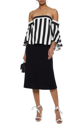 bc0d01889d49da ... MILLY Rosa off-the-shoulder striped crepe top ...