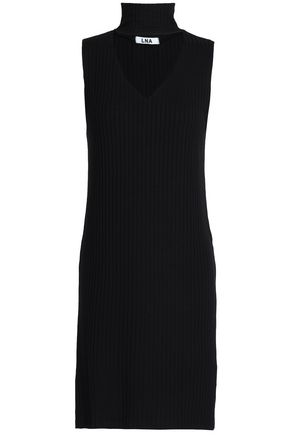 LNA Cutout ribbed-knit mini dress