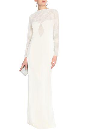 ALEXANDER WANG Macramé-paneled crepe gown