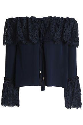 RACHEL ZOE Cali off-the-shoulder cotton-blend lace and silk crepe de chine top