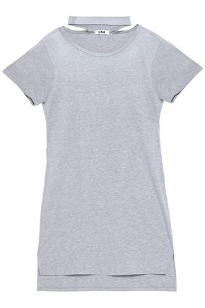 LNA Cutout mélange cotton-blend jersey mini dress