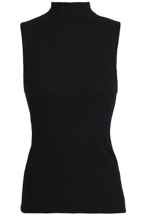 LNA Cutout ribbed-knit turtleneck top