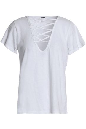 LNA Lattice-trimmed slub cotton-jersey top