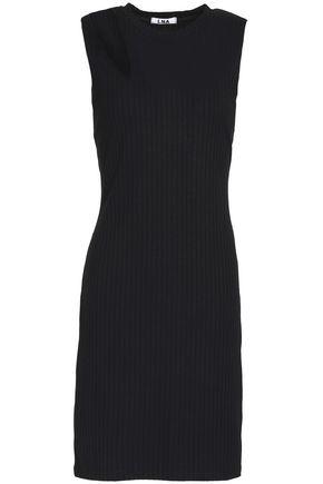 LNA Cutout ribbed-knit mini dress