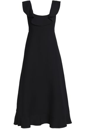 VALENTINO Fluted wool and silk-blend midi dress