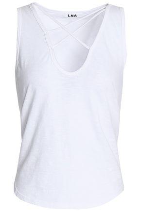 LNA Lace-up slub cotton-jersey top