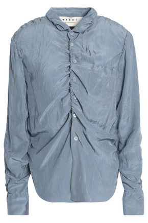 MARNI Ruched crinkled-shell shirt