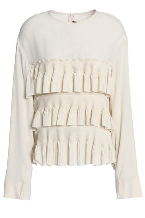 MARNI Pleated ruffled crepe de chine blouse