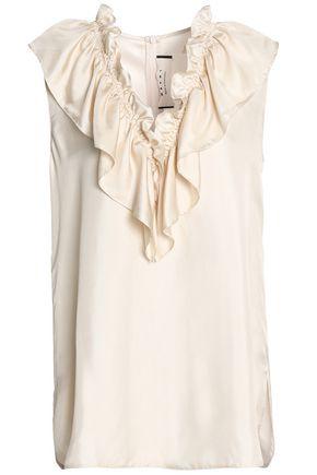 MARNI Ruffled silk-twill blouse