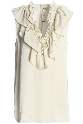 MARNI Ruffle-trimmed satin blouse