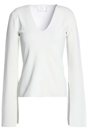 SOLACE LONDON Orlina Deep V-Neck Knit Slit Sleeve Top in Off-White