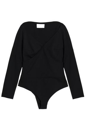 SOLACE LONDON Wrap-effect crepe bodysuit