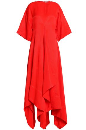 SOLACE LONDON Flared draped canvas midi dress