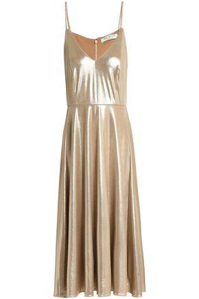 HALSTON HERITAGE Metallic crepe dress