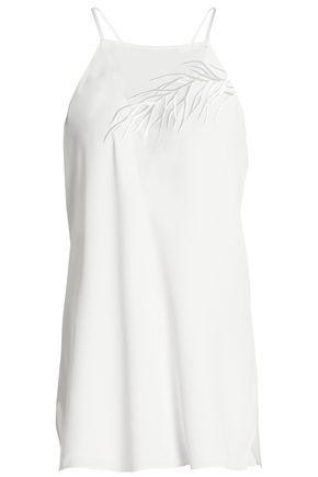 HALSTON HERITAGE Embroidered crepe de chine camisole