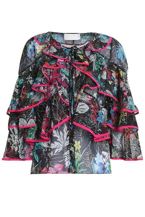 PETER PILOTTO Ruffled printed silk-georgette blouse